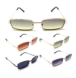 a848392465 Image is loading MINISTER-SLIM-RECTANGULAR-AVIATOR-SUNGLASSES-CLASSIC -CASUAL-METAL-