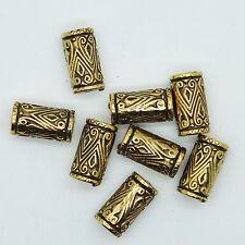 Embossed Column Tube Bead 18mm Metalized Large Hole Antiqued Gold Finish pk/8