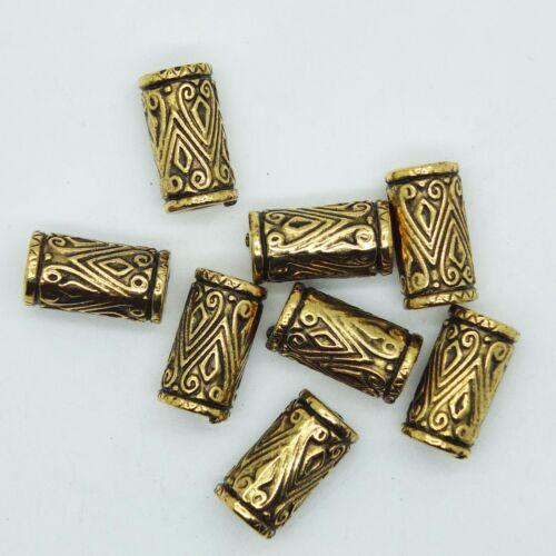 Embossed Column Tube Bead 18mm Metalized Large Hole Antiqued Gold Finish pk//8