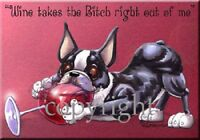 Boston Terrier Breed Wine Bitch Dog Artist Kitchen Glass Cutting Board