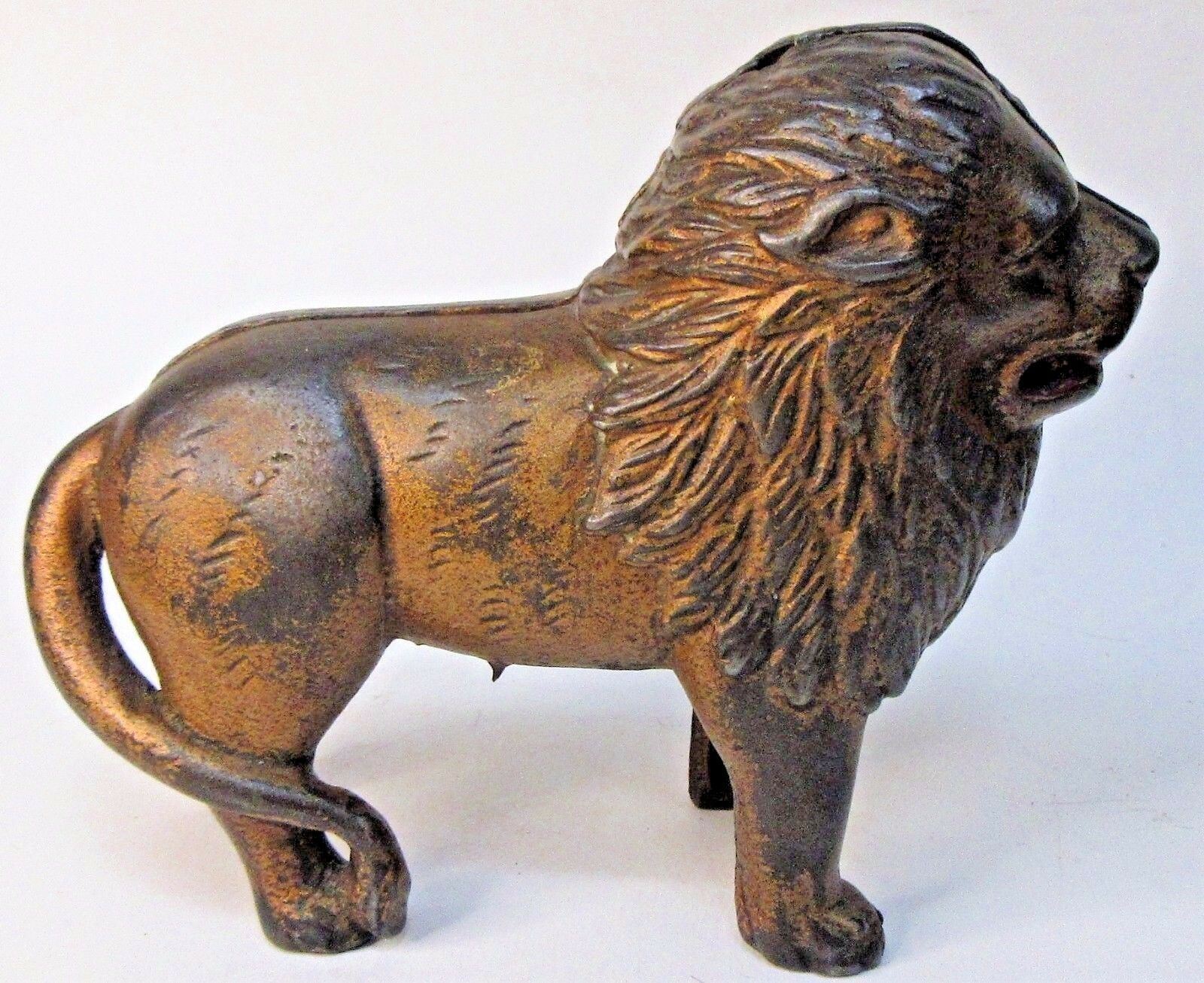 1920's STANDING LION large 7  cast iron still bank A.C. Williams ORIGINAL