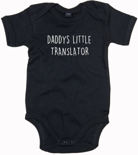 TRANSLATOR BODY SUIT PERSONALISED DADDYS LITTLE BABY GROW GIFT