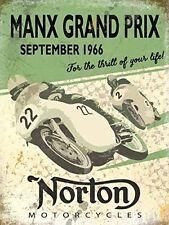 New 15x20cm Norton Manx Grand Prix vintage enamel style metal advertising sign