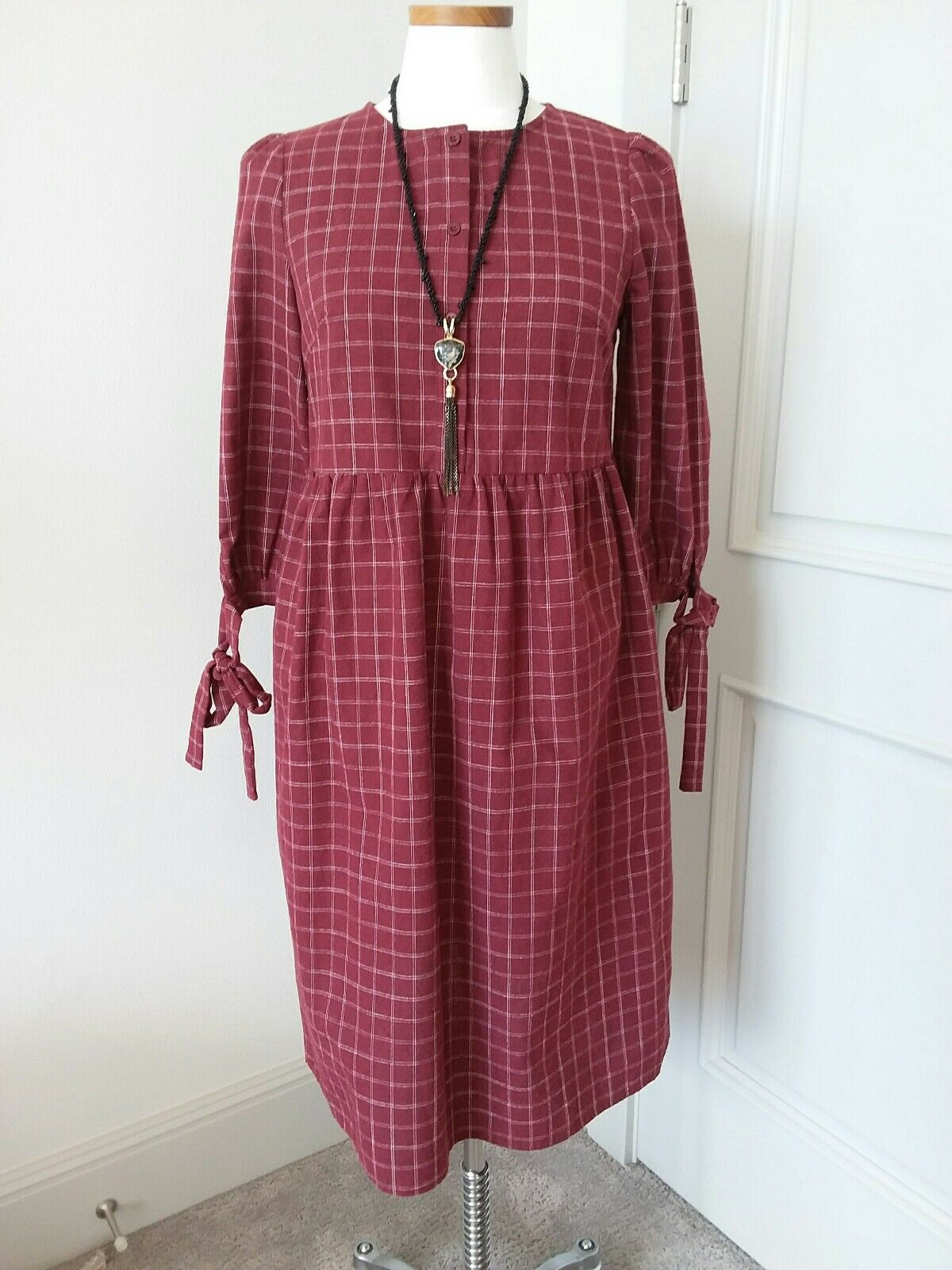 Stevie Henderson Plaid Burgundy 3 4 Sleeve Dress Sz S NWT