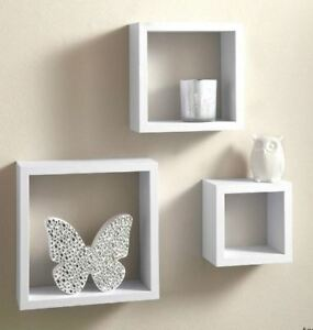 New-Square-Floating-Wooden-Wall-Storage-Display-Shelves-White-Set-of-3