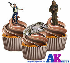 12 x Star Wars Han Solo Chewbacca Millennium Falcon FUN EDIBLE CUP CAKE TOPPERS