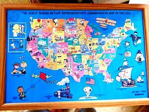 LY FRAMED CARTOON MAP OF USA CHARLIE BROWN PEANUTS 1492 -1992 ... on