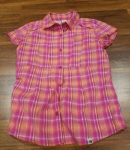 The-North-Face-Pink-Purple-Orange-Plaid-Button-Front-Shirt-Womens-Size-Small
