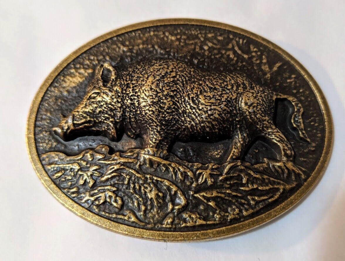 ♈ acabado bronce antigua de gráficos levantado Hebilla de cinturón Granja país jabalí cerdo Hawgs