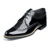 Mens Black Dress shoes Stacy Adams Dayton Wing Tip Oxford Leather Tuxedo 00605