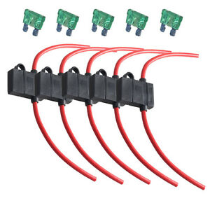 5Pcs 12 Gauge ATC Fuse Holder Box In-Line Wire Copper 12V 30A Blade Plug US