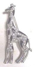 Vintage 70's Chunky Giraffe Animal Enamel Glass Crystal Rhinestone Pin Brooch