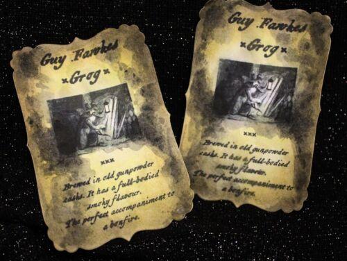 """/""""Guy Fawkes GROG/"""" Bonfire Night Party bouteille Autocollants-Lot de 8"""
