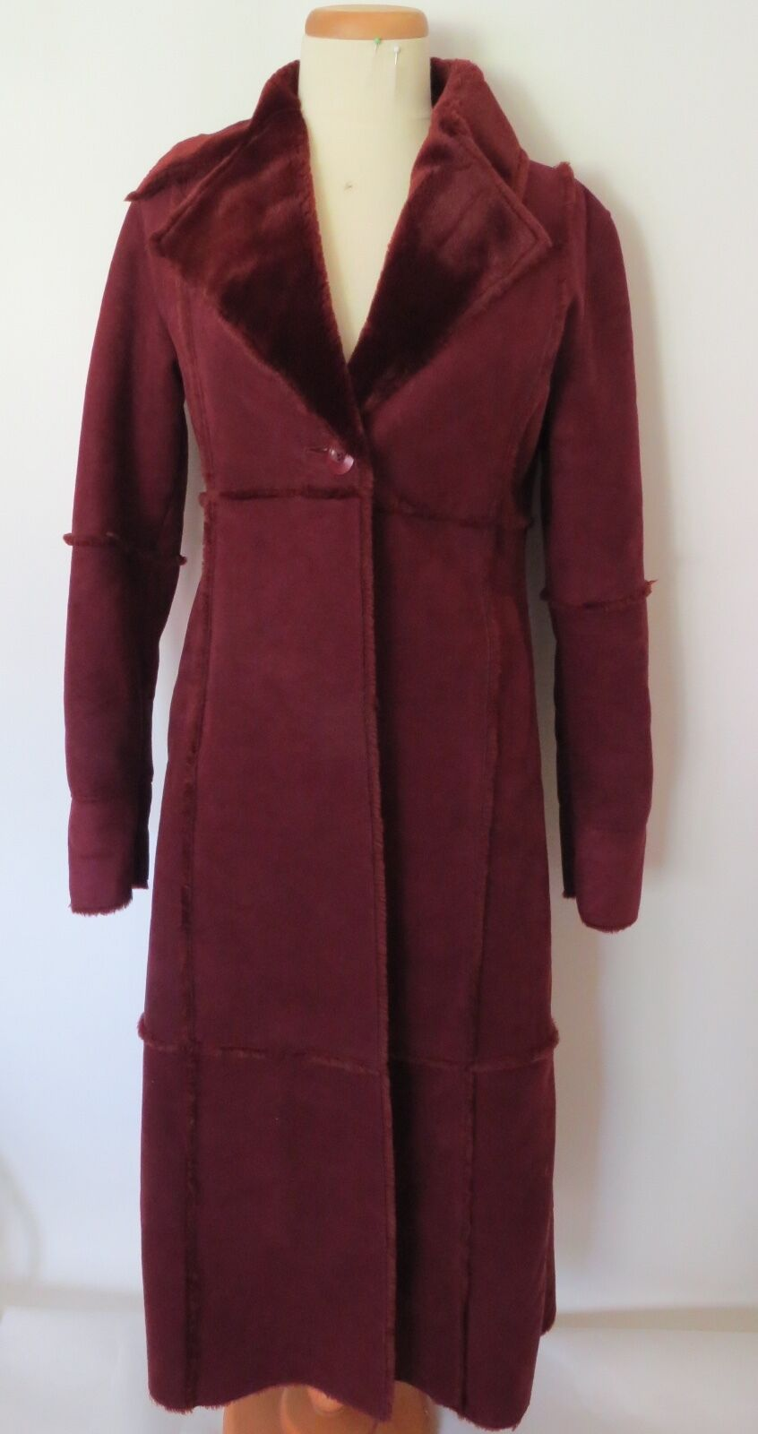 Be  Red  color Solid Faux Suede Long Sleeve Polyester Coat Size S
