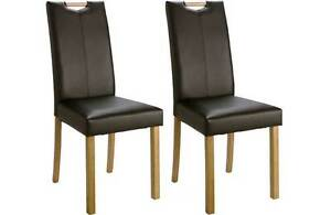 Pair Of Mid Back Dining Chairs With Handle Leather Effect Black