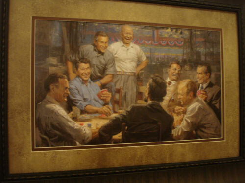 "ANDY THOMAS FRAMED /""Grand Ol/' Gang/"" OPEN EDITION PRINT /""US PRESIDENTS/"""