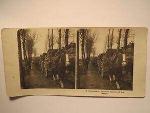 1-Weltkrieg-Deutsche-Kolonne-auf-dem-Marsch-Soldaten-Pferde-Stereofoto