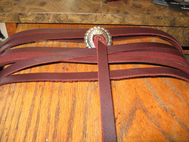 12 EXTRA LONG  GENUINE HEAVY LATIGO LEATHER SADDLE STRINGS 38 IN BURGANDY 1 2 in