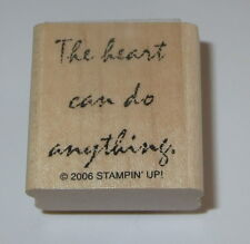 The Heart Can Do Anything Rubber Stamp Stampin' Up! Retired Wood Mounted