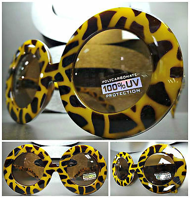 OVERSIZE EXAGGERATED RETRO VINTAGE SUN GLASSES X-Large Thick Round Leopard Frame
