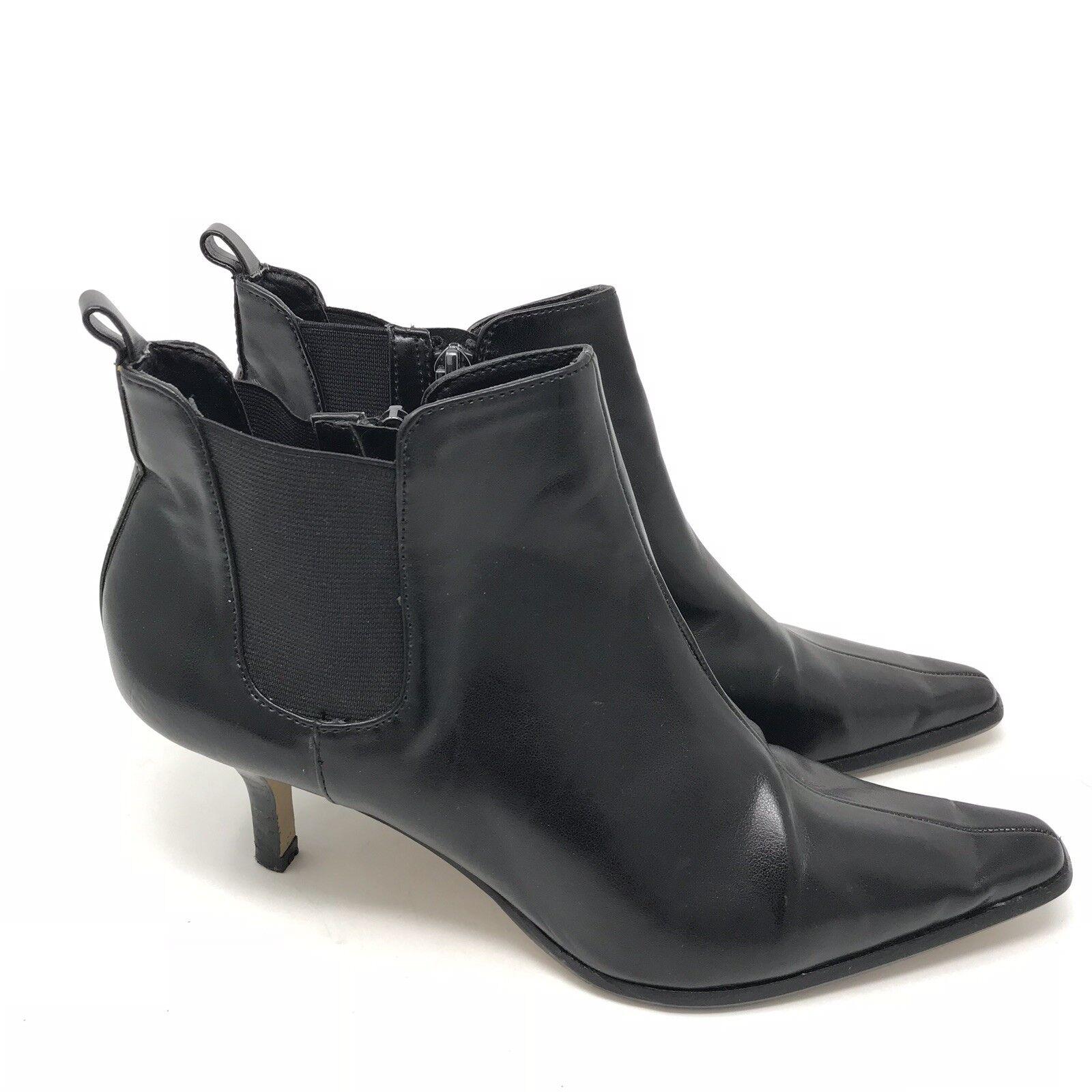 Donald J Pliner botas talla 7.5 leeo Tobillo Tacón Para Mujer Cuero Negro Gatito