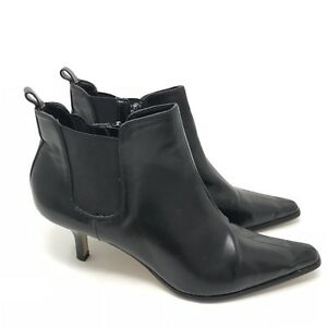 75bdab2ffe61 Details about Donald J Pliner Boots Size 7.5 Leeo Ankle Womens Black  Leather Kitten Heel
