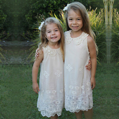 NEW Flower Girl Dress Princess Vintage Special Occasion Wedding Lace OFF WHITE