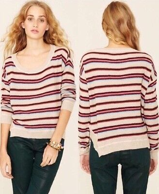 NWT Free People Beach Roadtrip Striped Sweater Pullover Top M Knit Tan | eBay