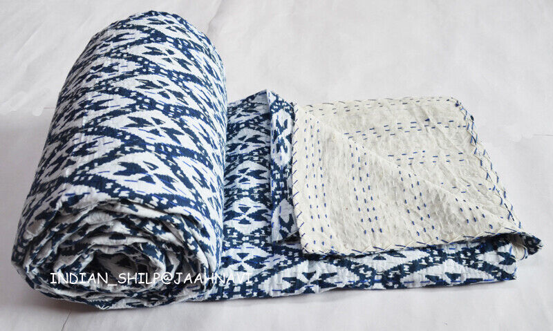 Indian New Kantha Quilt Bettding Traditional Startseitelet Screen Ikat Drucken Bettspread