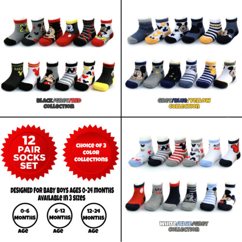 Age 0-24M Disney Baby Boys Mickey Mouse Assorted Color Design 12 Pair Socks Set