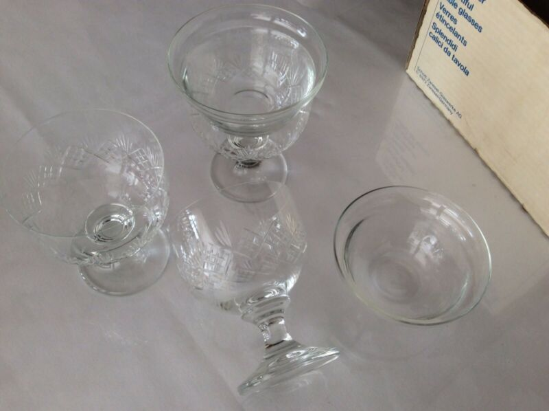 Zwiesel Glass Germany FRUIT COCKTAIL DISH / GLASSES (6x)