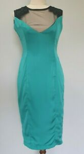 Kitten-D-039-Amour-Womens-Size-10-Cocktail-Party-Retro-Blue-Green-Silk-Wiggle-Dress