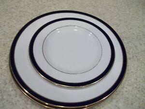 3-Pc-Lenox-Federal-Cobalt1-Salad-8-1-4-034-2-Dinner-Plates-10-7-8-034-White-Cobalt-Blu