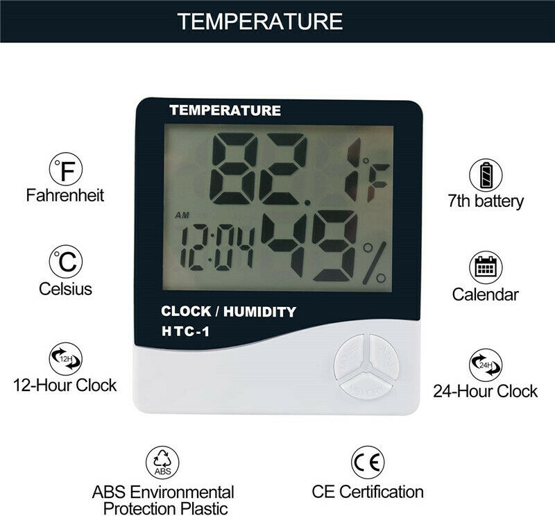 Phlizon Digital Temperature Humidity Monitor Gauge with Thermometer & Clock UK