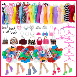 42 Pack Barbie Doll Clothes Party Gown Outfits Shoes Glasses Necklaces for Girls