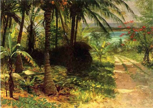 "Handpainted art Oil painting Tropical Landscape - Albert Bierstadt in summer 36"""
