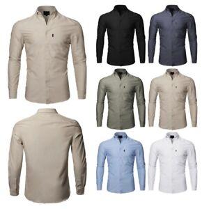 FashionOutfit-Men-039-s-Basic-Button-Down-Collar-Chambray-Long-Sleeve-Shirt
