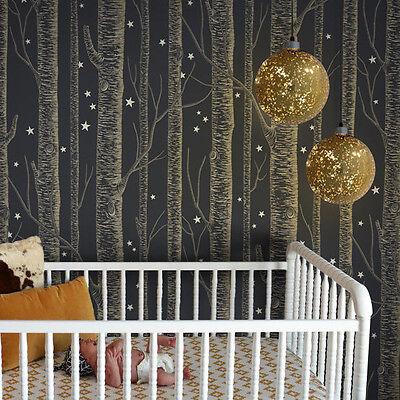Starry Golden Color Birch Tree On Dark Grey Background Peel Stick Wallpaper Ebay