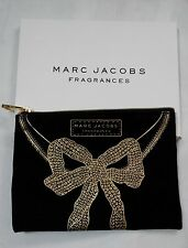 Marc Jacobs Fragrances Black & Gold Bow Toiletry Case Makeup Cosmetic Bag Pouch