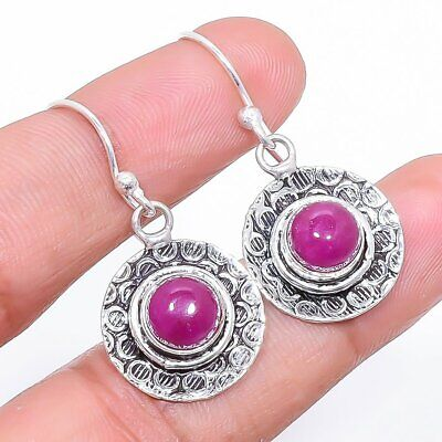 "Earrings Logical Ruby Gemstone Handmade Ethnic Fashion Jewelry Earring 1.4"" Se4755 Fashion Jewelry"
