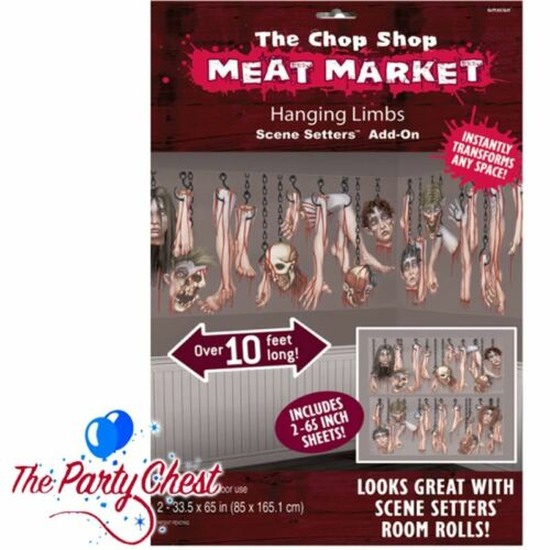 10FT CHOP SHOP MEAT MARKET HANGING LIMBS Halloween Scene Setter Add-on Kit 73401