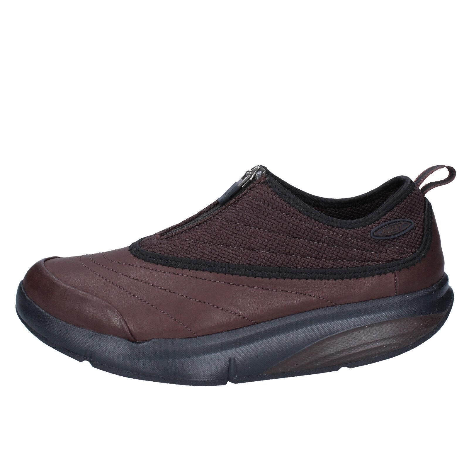 Scarpe donna MBT 37 scarpe da ginnastica marrone pelle tessuto BY963-37
