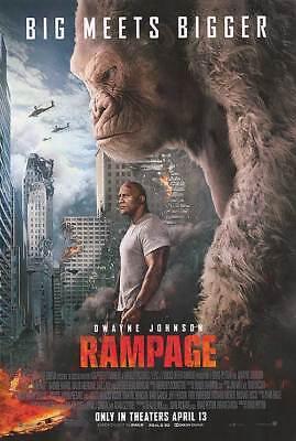 "RAMPAGE 2018 Original Final DS 2 Sided 27x40"" US Movie Poster D Johnson + Bonus"