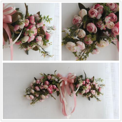 Artificial Peonies Pink Flower Garland Home Garden Lintel Wedding Decor Wreath