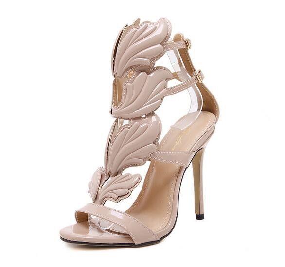Sandali eleganti tacco stiletto 11 cm  beige pelle sintetica eleganti 9820