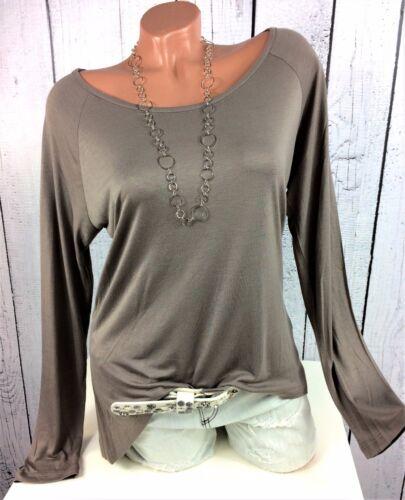 Tamaris 44 Longshirt Shirt weich fallend hinten länger taupe braun Gr