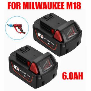 2PCS 18V XC 6.0 AH Extended Capacity Li-ion Battery For Milwaukee M18 48-11-1860