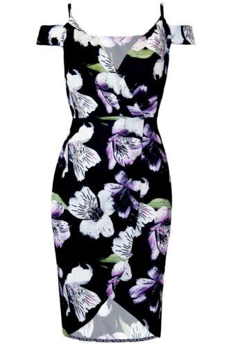 Womens Ladies Floral Cold Cut Shoulder V-Neck Wrap Over Asymmetric Bodycon Dress