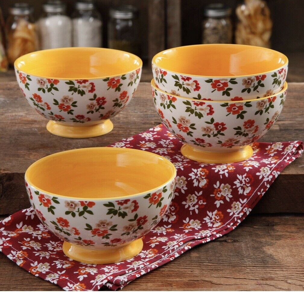 RARE  PIONEER WOMAN TIMELESS FLORAL  FALL FLOWERS 6  FOOTED BOWL SET OF 4 BOWLS