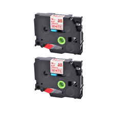 2pk Compatible Brother P Touch Tz 242 Tze 242 Red On White Label Tape 07